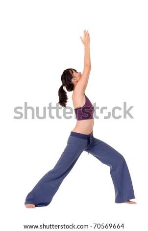 Yoga woman posing isolated over white background. - stock photo