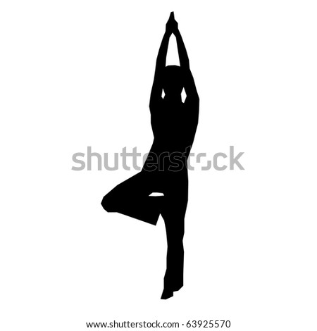 Yoga woman silhouette illustration - stock photo