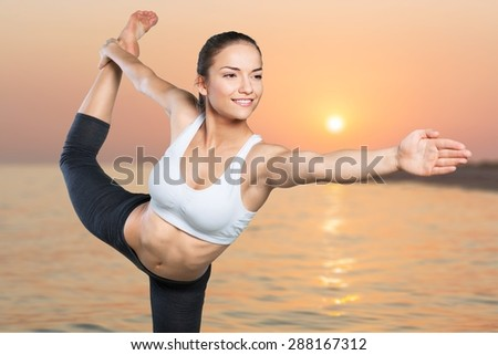 Yoga, Women, Stretching. - stock photo