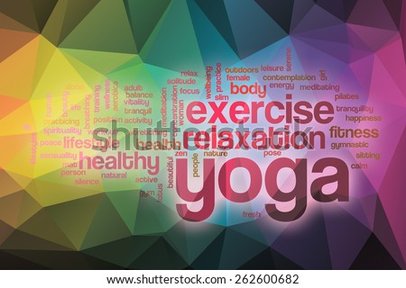 Yoga word cloud concept with abstract background - stock photo