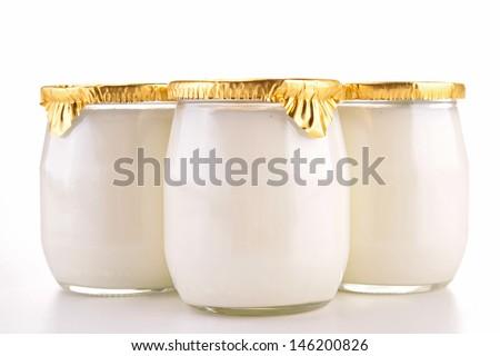 yoghurt isolated - stock photo