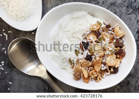 Yoghurt muesli or yogurt granola with coconut. - stock photo