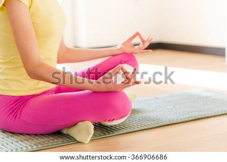 Yogi girl meditating - stock photo