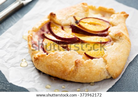 Yogurt and nectarine galette open rustic pie