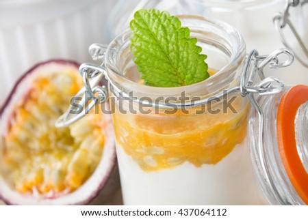 Yogurt and passion fruit - stock photo
