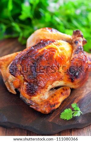 Yogurt marinated baked chicken, selective focus - stock photo