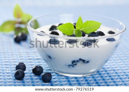 yogurt with fresh blueberry - stock photo