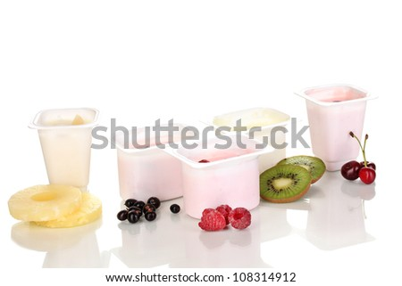 Yogurt with fruits and berries isolated on white
