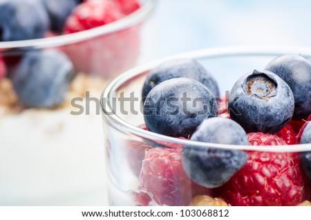 Yogurt with raspberries and blueberries - stock photo