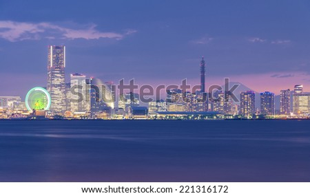 Yokohama Harbour at twilight with Mt Fuji on the background - stock photo