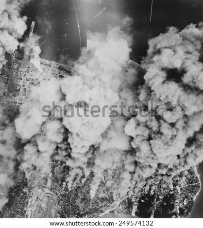 Yokohama, Japan, after incendiary bombing of large sections of the city. On May 29, 1945 in what is now known as the Great Yokohama Air Raid, an estimated seven or eight thousand people were killed. - stock photo