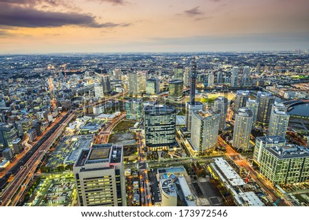 Yokohama, Japan city skyline viewed from above. - stock photo