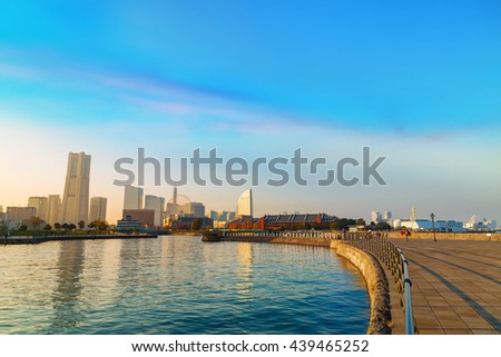 "YOKOHAMA, JAPAN - NOVEMBER 24 2015: Minato Mirai 21 is a seaside urban area in central Yokohama whose name means ""Harbor of the Future"""