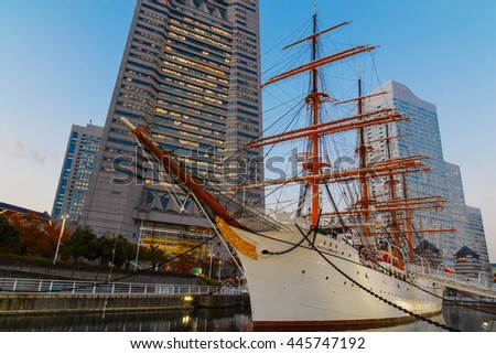 YOKOHAMA, JAPAN - NOVEMBER 24 2015: Nippon Maru was built in 1930, a retired sailing ship which permanently docked at Minato Mirai and opened to the public as Yokohama Port Museum - stock photo