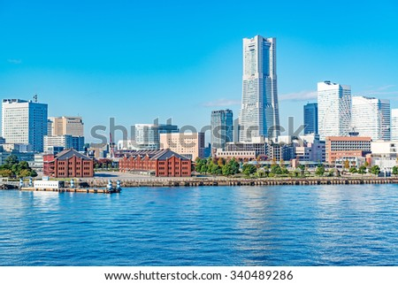 YOKOHAMA, JAPAN - November 3: Yokohama City in Kanagawa, Japan on November 3, 2015. Yokohama is the third biggest city in Japan.