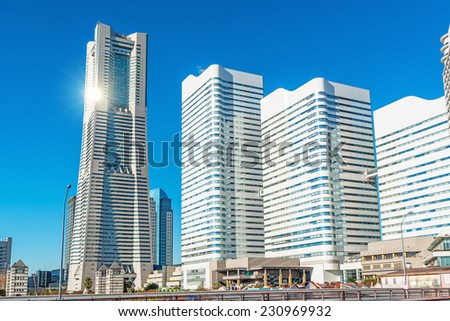 YOKOHAMA, JAPAN - November 15: Yokohama Minato Mirai 21 in Yokohama, Japan on November 15, 2014. It is a large urban development and the central business district of Yokohama, Japan.  - stock photo