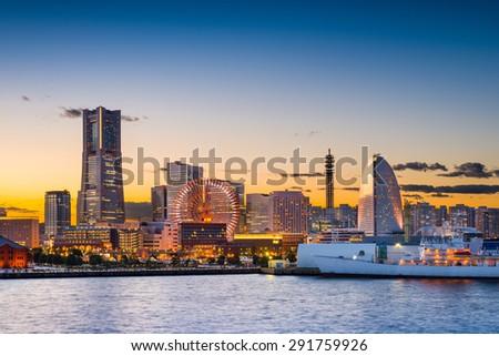 Yokohama, Japan sunset skyline. - stock photo