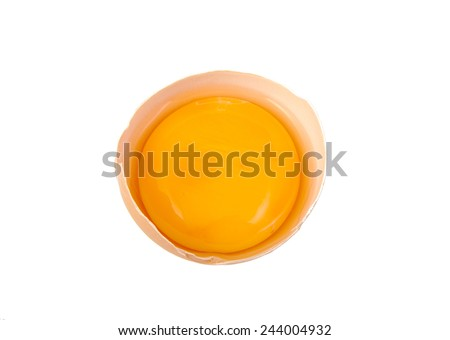 Yolk in broken egg isolated on white background - stock photo