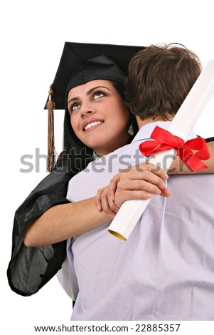 Yong Man Hug and Congratulate Female Graduate Student on Isolated Background