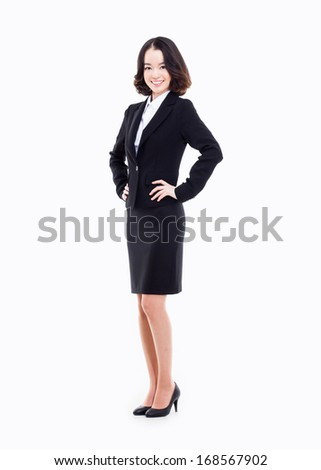 Yong pretty Asian business woman isolated on white background.  - stock photo