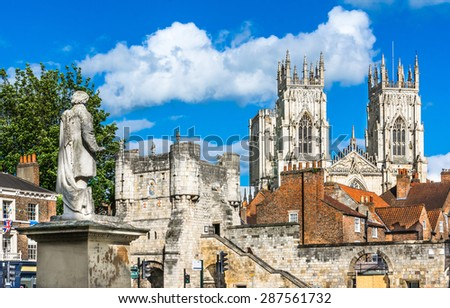 York city view with the mediaeval gate, tower and York Minster in the background