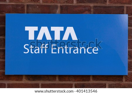 YORK, ENGLAND - APRIL 5: TATA Staff Entrance sign outside of Meridian House on April 5 2016 in York, England. - stock photo