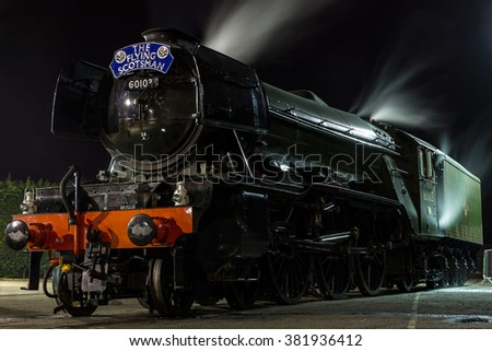 YORk, ENGLAND - FEBRUARY 25: The Flying Scotsman rests at the National Railway Museum (NRM) after its inaugural trip from Kings Cross (London) on August 25 2016 in York, England. - stock photo
