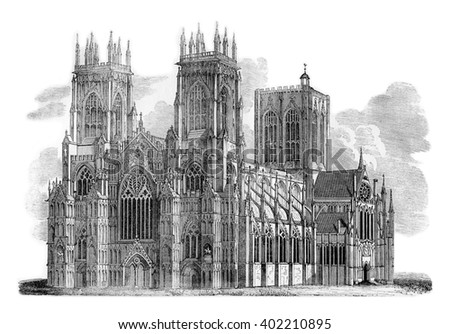 York minster vintage engraved illustration colorful history of england 1837