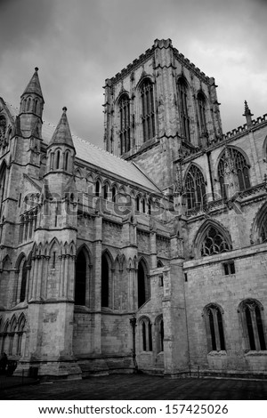 York Minster, York, England taken in black and white - stock photo