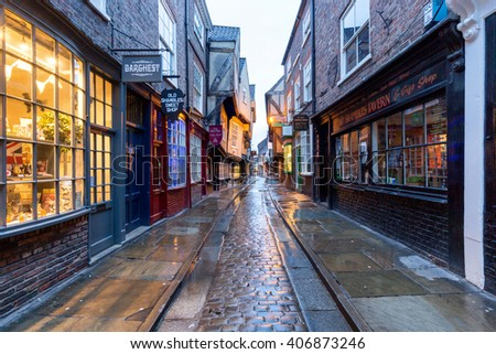 YORK, UK - April 12: The Shambles is a former butchers' street in York. April 12, 2016 in York.