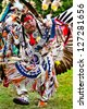 YORKTOWN HEIGHTS, NY - SEPTEMBER 25:Unidentified Native American Indian dances at the FDR Pow Wow on September 25, 2011 in Yorktown Heights, NY - stock photo