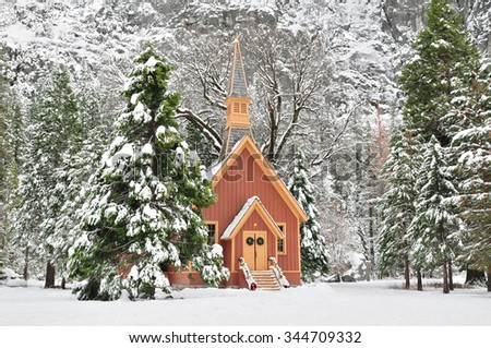 Yosemite Chapel during winter in Yosemite National Park, California, U.S.A. - stock photo