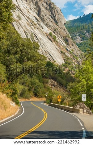 Yosemite Curved Road. Scenic by Way in Yosemite Sierra Nevada Mountains. California, United States.