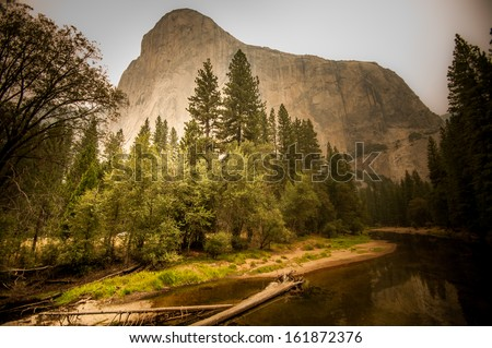 Yosemite dust air from fire august 2013 - stock photo