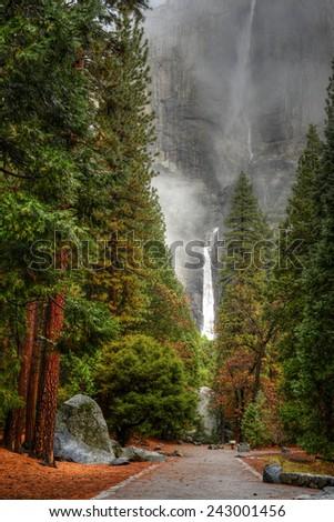 Yosemite Falls in autumn Yosemite Nation Park California - stock photo