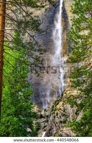 Yosemite falls.  Yosemite National Park, California USA. - stock photo