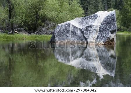 Yosemite Mirror Lake detail on Tenaya Creek, Meadow Trail - stock photo