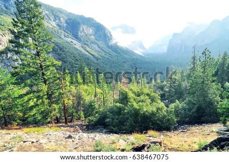 Yosemite National Park Scenic Beautiful Mountain Stock Photo
