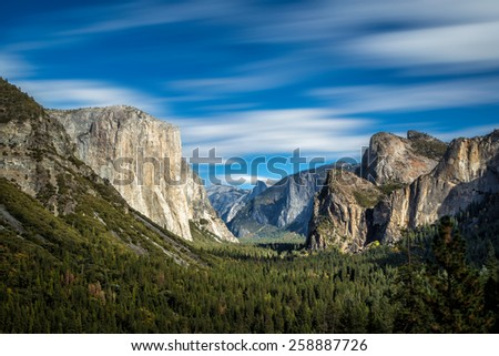 Yosemite National Park Valley from Tunnel View - stock photo