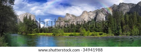 Yosemite park with rainbow after a raining day
