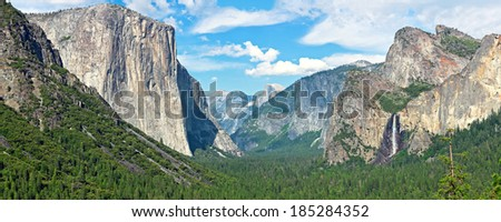 Yosemite Valley from Tunnel View - stock photo