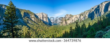 Yosemite Valley panorama - stock photo