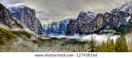 Yosemite Valley Panorama, Yosemite National Park, California - stock photo