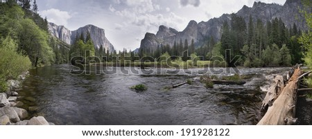 Yosemite Valley River Valley  Panorama view - stock photo