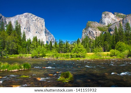 Yosemite Valley with El Captain Rock and Bridal Veil Falls in Yosemite National Park,California - stock photo