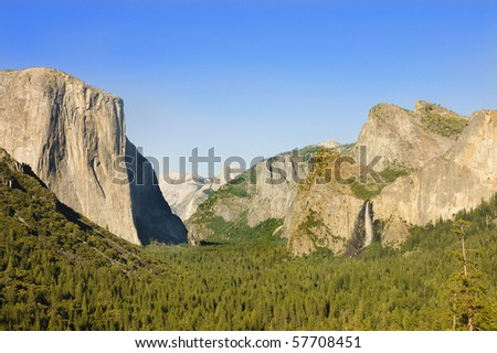 Yosemite Valley with half Dome,  El Capitan and Bridalveil falls in the summer as the sun is setting