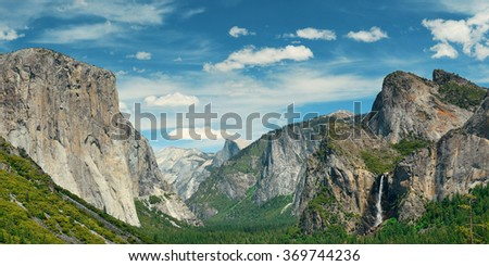 Yosemite Valley with mountains and waterfalls - stock photo