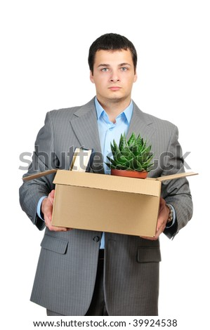 You are fired! Young businessman hold cardboardbox with  personal belongings. Isolated on white background.