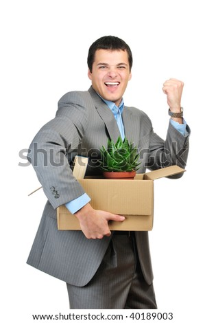 You are fired! Young happy businessman hold cardboardbox with personal belongings. Isolated on white background.