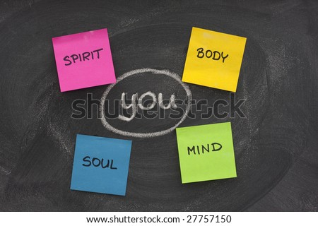 you, body, mind, soul, spirit - personal growth or development concept sketched with white chalk and sticky notes on blackboard with eraser smudges - stock photo